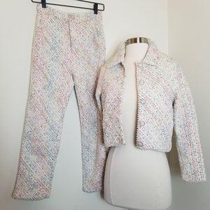 Luxy Theory Plaid Tweed Pearl Jacket Pantsuit Set